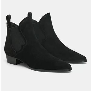 Zara Black Suede Flat Leather Ankle Boots 5162/301